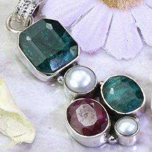 Em 0921b pendentif 9gr pendant emeraude rubis perle nacre medieval achat vente bijoux argent 925
