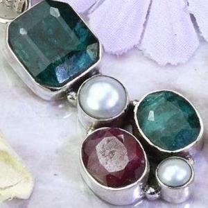 Em 0921c pendentif 9gr pendant emeraude rubis perle nacre medieval achat vente bijoux argent 925