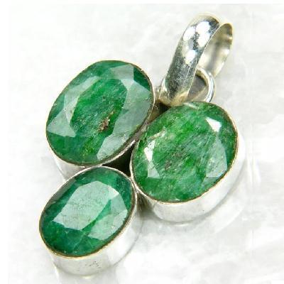Em 0939b pendant pendentif emeraude 10x8mm 7gr orientale achat vente bijoux argent 925