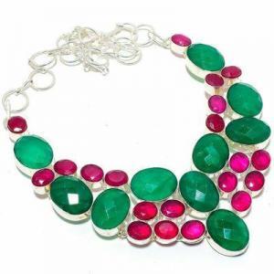 Em 0940a collier parure emeraude rubis 82gr 15x20mm achat vente bijou argent 925