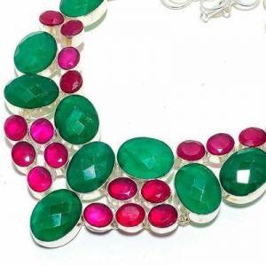 Em 0940b collier parure emeraude rubis 82gr 15x20mm achat vente bijou argent 925