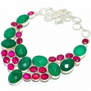 Em 0940d collier parure emeraude rubis 82gr 15x20mm achat vente bijou argent 925