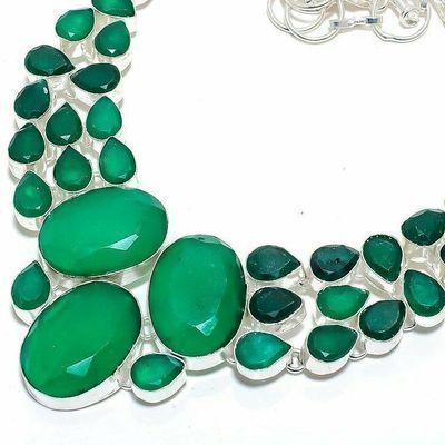 Em 0949b collier parure emeraude facettees 64gr 20x25mm achat vente bijou argent 925