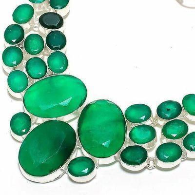 Em 0950b collier parure emeraude facettees 70gr 20x25mm achat vente bijou argent 925