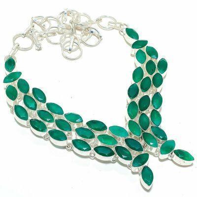 Em 0951a collier parure emeraude facettees 70gr 6x12mm achat vente bijou argent 925