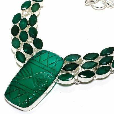 Em 0954b collier parure emeraude gravees 64gr 25x45mm achat vente bijou argent 925