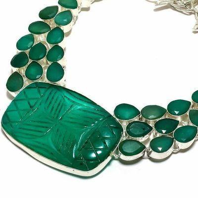 Em 0955b collier parure emeraude gravees 61gr 30x40mm achat vente bijou argent 925