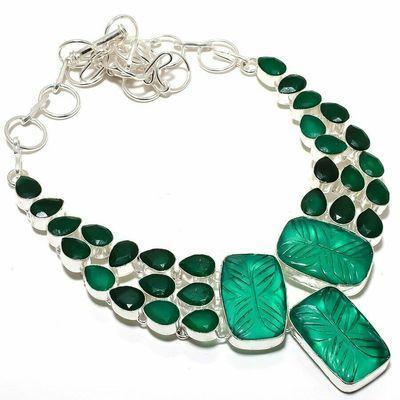 Em 0956a collier parure emeraude gravees 61gr 20x30mm achat vente bijou argent 925