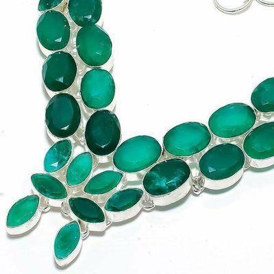 Em 0958b collier parure emeraude facettees 66gr 10x15mm achat vente bijou argent 925
