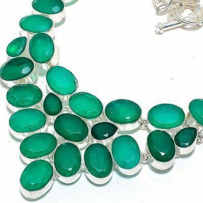 Em 0959b collier parure emeraude facettees 62gr 10x15mm achat vente bijou argent 925