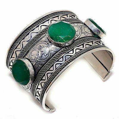 Em 0972a bracelet torque emeraude facettees 62gr 20mm achat vente bijou argent 925