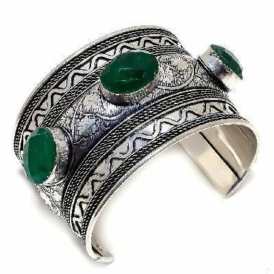 Em 0974a bracelet torque emeraude facettees 58gr 15x20mm achat vente bijou argent 926