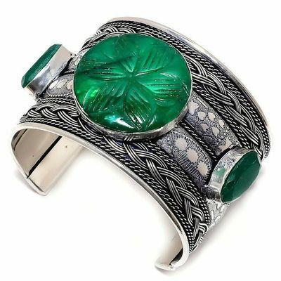 Em 0974d bracelet torque emeraude facettees 58gr 15x20mm achat vente bijou argent 925