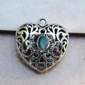Em 0979c pendentif coeur jesus pendant emeraude achat vente bijou argent 925