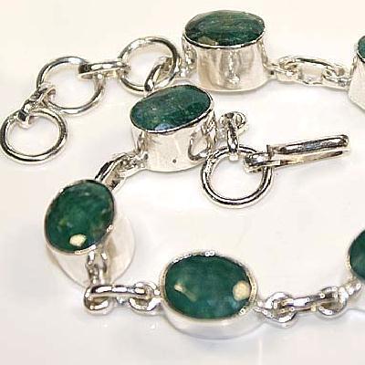 Em 830c bracelet medieval renaissance emeraude 10x8mm argent 925