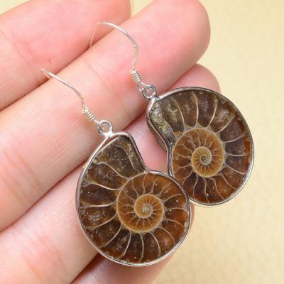 Fs 1005f boucles oreilles ammonite quartz coquillage achat vente argent 925