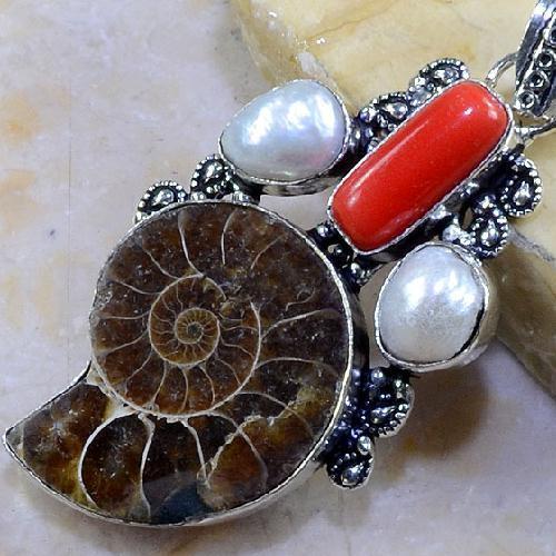 Fs 1024b fossile ammonite pendentif corail perle achat vente pierre collection prehistoire