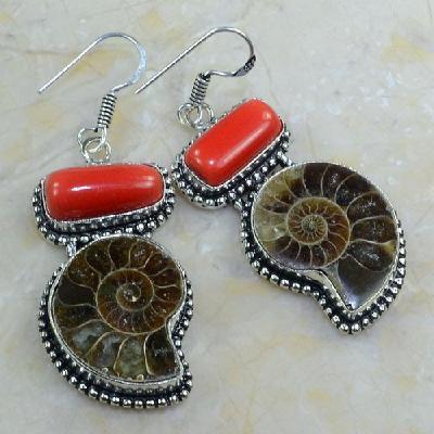 Fs 1026a fossile ammonite boucles oreilles corail perle achat vente bijou argent 925