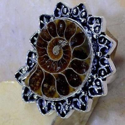 Fs 1027c bague t57 fossile ammonite achat vente pierre naturelle collection prehistoire