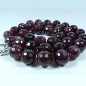 Gr 0001a collier sautoir perles facettees 8mm grenat achat vente argent 925