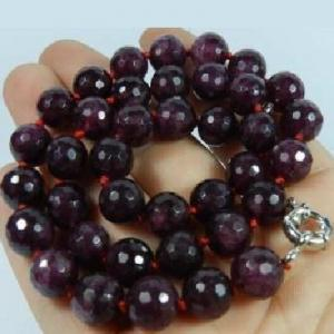 Gr 0001d collier sautoir perles facettees 8mm grenat achat vente argent 925