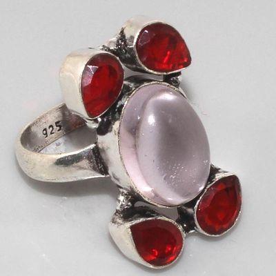 Gr 0028a bague medievale grenat mozambique quartz rose argent 926