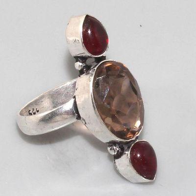 Gr 0030a bague medievale grenat mozambique quartz rose argent 926