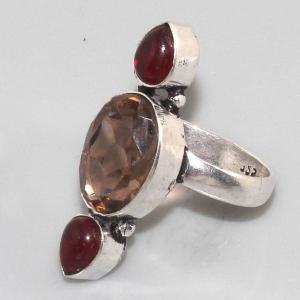 Gr 0030b bague medievale grenat mozambique quartz rose argent 925