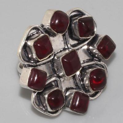 GR-0032 - Grosse BAGUE T 58 cabochon 9 GRENATS et monture argent 925 - 74,5 carats 14,9 gr