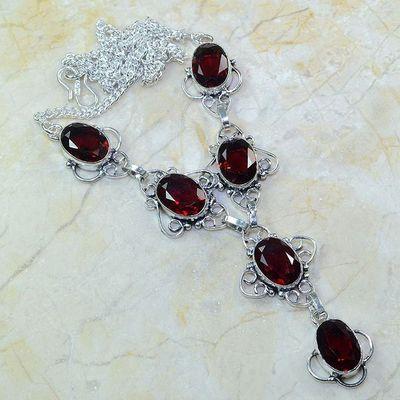 Gr 0053a collier parure sautoir grenat bijou argent 925 achat vente bijou 1