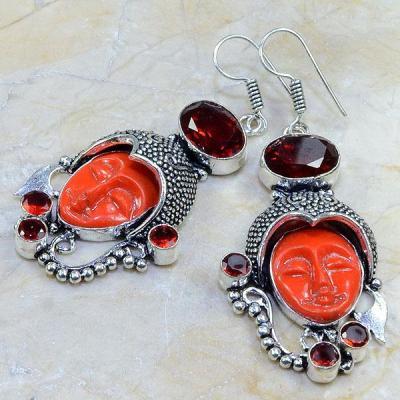 Gr 0068c boucles pendants oreilles grenat garnet achat vente bijou argent 925