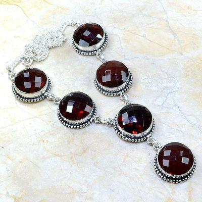 Gr 0077a collier parure sautoir grenat bijou argent 925 achat vente bijou