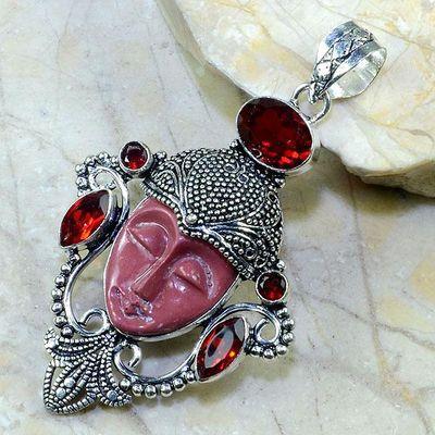 Gr 0080a pendentif grenat jaspe bouddha argent 925 achat vente