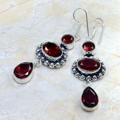 Gr 0082b boucles pendants oreilles grenat garnet achat vente bijou argent 925