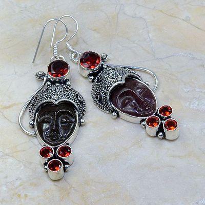 Gr 0097a boucles pendants oreilles bouddha grenat garnet achat vente bijou argent 925