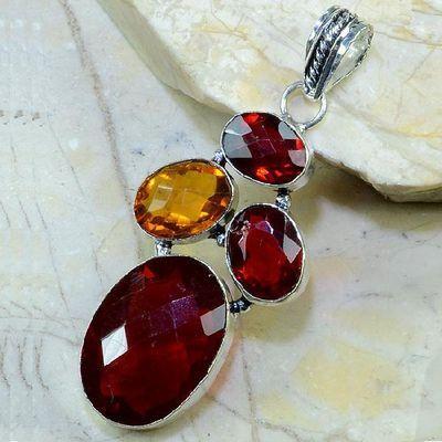 Gr 0106a pendant pendentif grenat garnet citrine argent 925 achat vente bijou