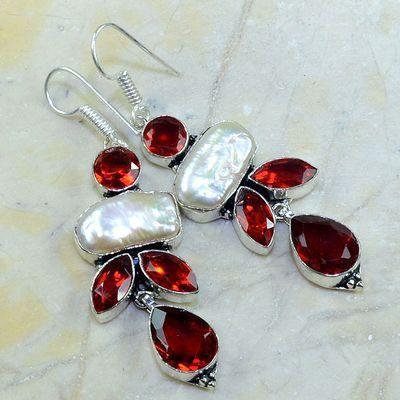 Gr 0156a boucles oreilles argent 925 perle grenat garnet achat vente bijou
