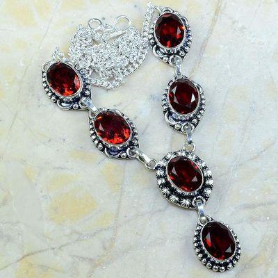 Gr 0157a collier parure sautoir grenat bijoux argent 925 achat vente bijou