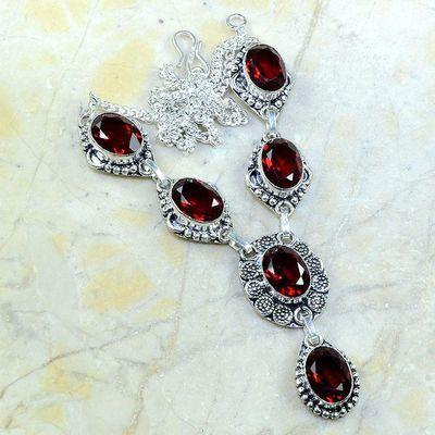 Gr 0162a collier parure sautoir grenat bijoux argent 925 achat vente bijou