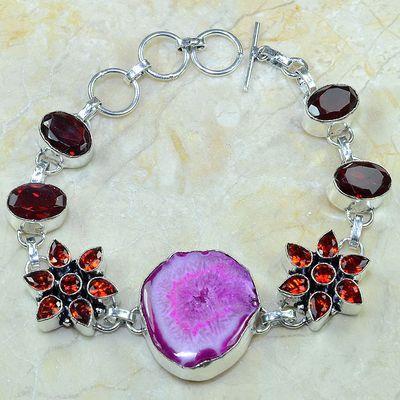 Gr 0164a bracelet grenat garnet agate rose argent 925 achat vente bijou 1