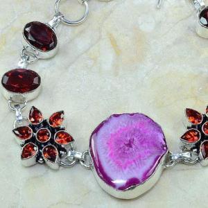 Gr 0164c bracelet grenat garnet agate rose argent 925 achat vente bijou 1