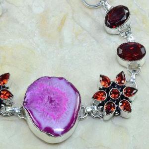 Gr 0164d bracelet grenat garnet agate rose argent 925 achat vente bijou 1