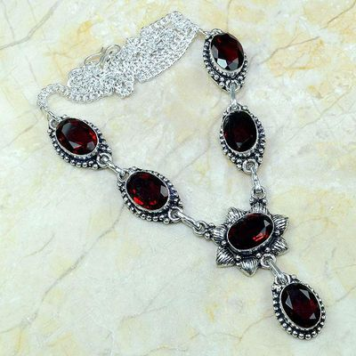 Gr 0166a collier parure sautoir grenat bijoux argent 925 achat vente bijou