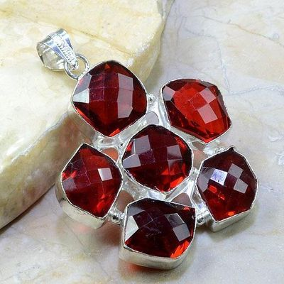 Gr 0169b pendant pendentif grenat garnet pierre gemme argent 925 achat vente bijou