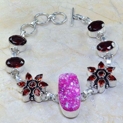 Gr 0172a bracelet grenat garnet agate rose argent 925 achat vente bijou