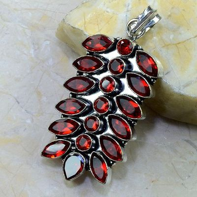 Gr 0183b pendant pendentif grenat garnet pierre gemme argent 925 achat vente bijou