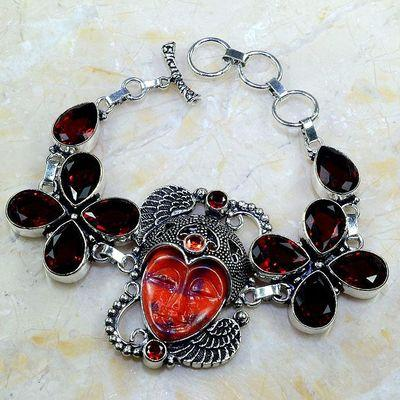 Gr 0184a bracelet grenat jade garnet bouddha argent 925 achat vente bijou
