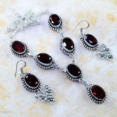 Gr 0185a parure collier boucles oreilles grenat mozambique bijoux argent 925 achat vente bijou