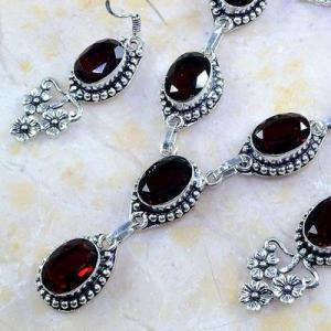 Gr 0185b parure collier boucles oreilles grenat mozambique bijoux argent 925 achat vente bijou