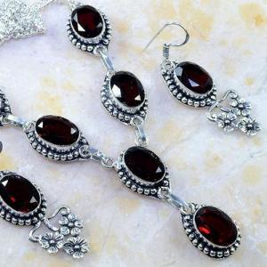 Gr 0185c parure collier boucles oreilles grenat mozambique bijoux argent 925 achat vente bijou